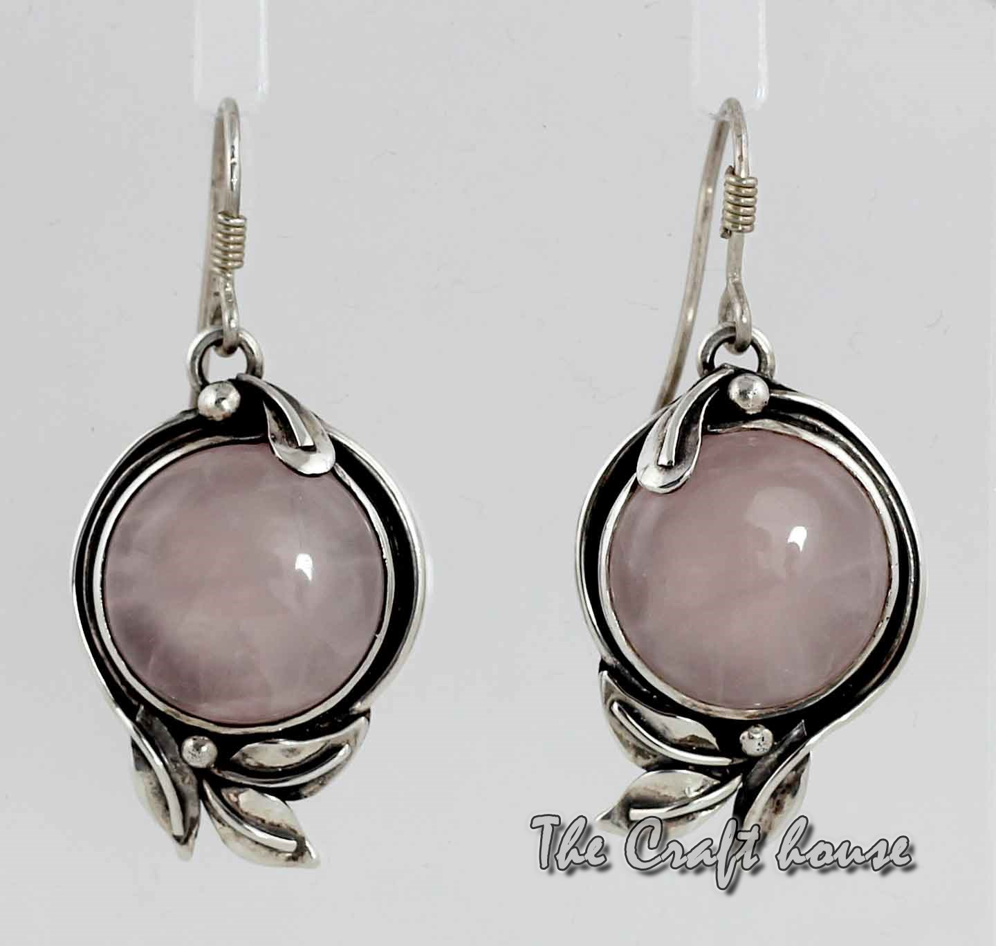 Silver earrings with Pink Quartz