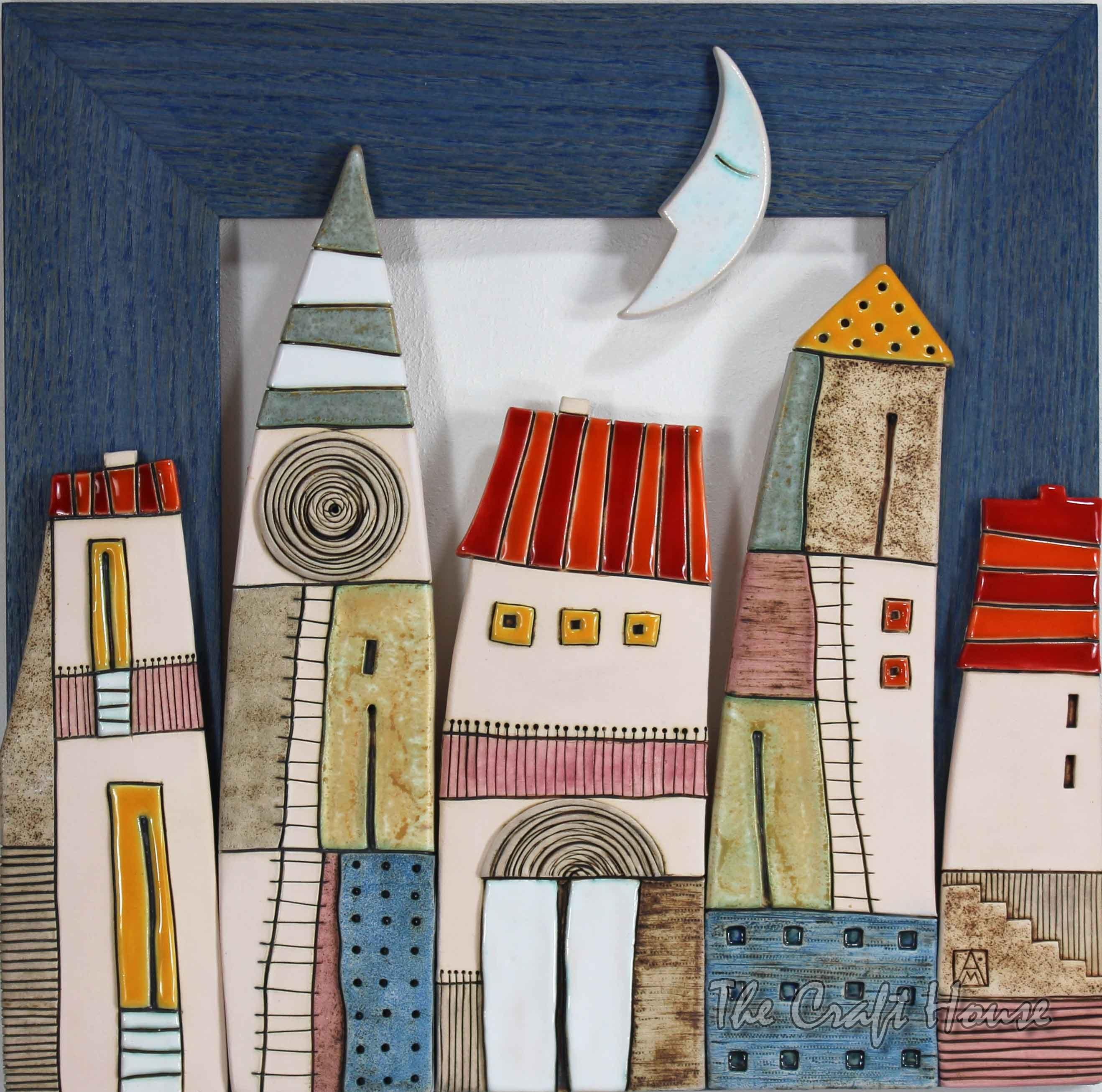 Декоративно керамично пано 'Нощ над града'