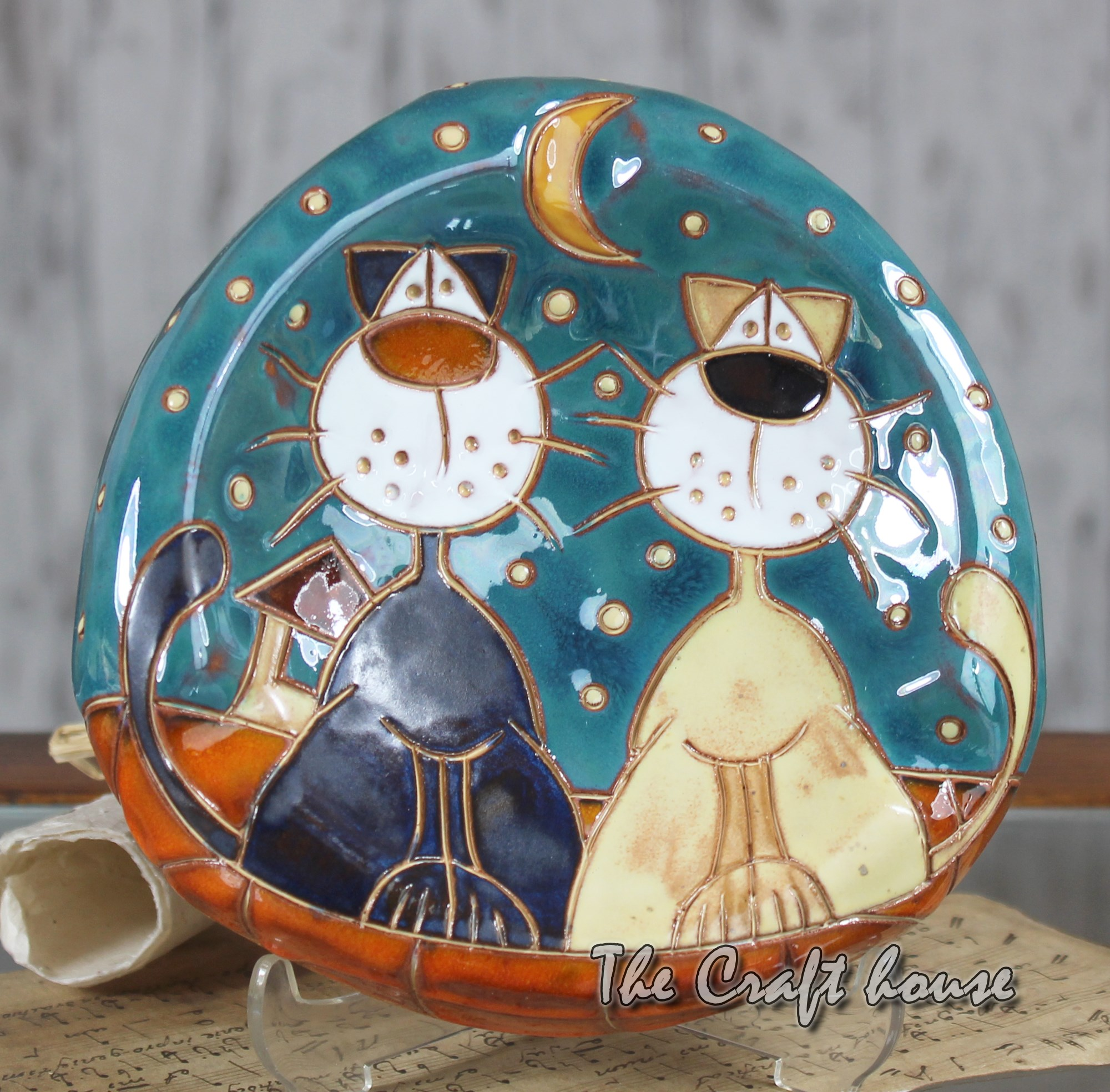 Ceramic ashtray 'Cats'