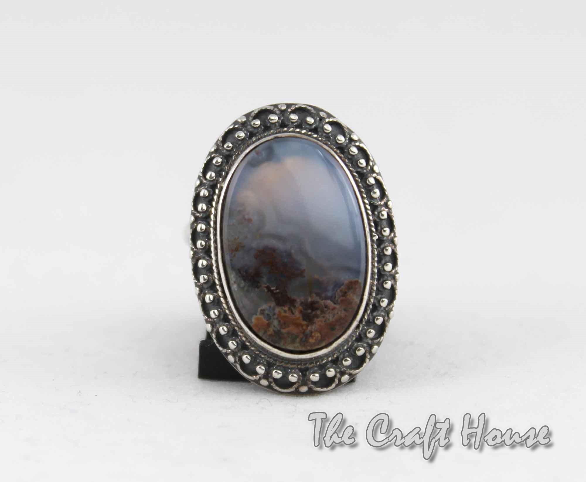 Сребърен пръстен с Пейзажен ахат