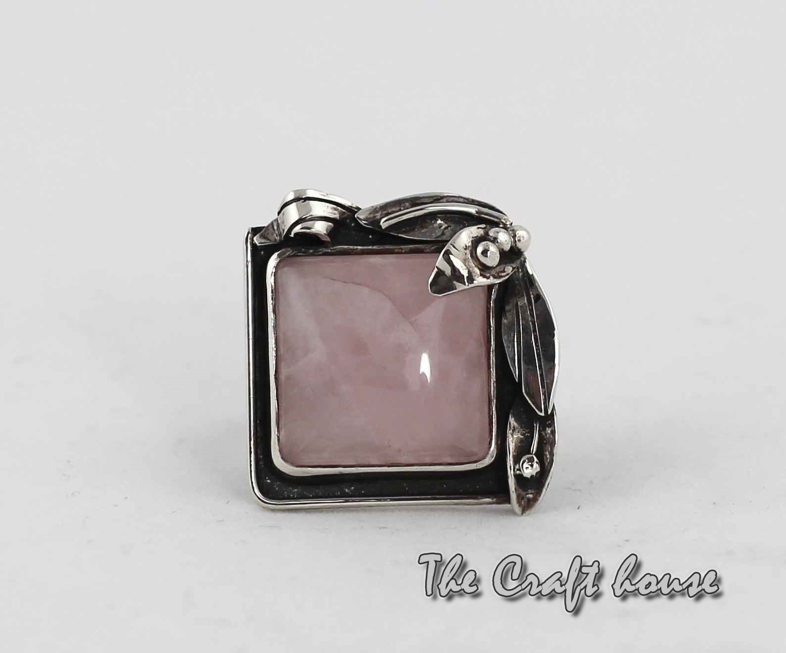 Silver ring with Pink Quartz