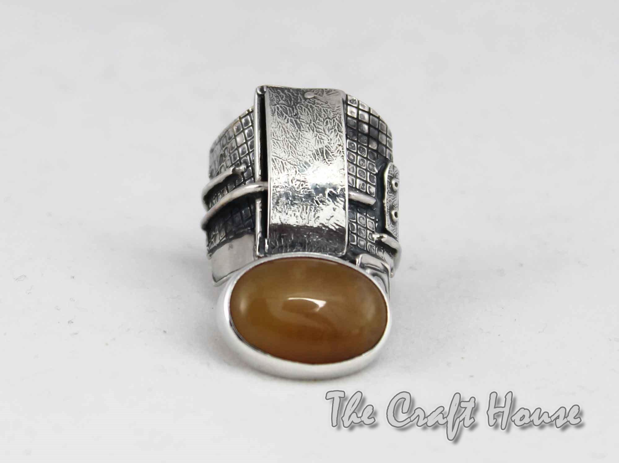 Сребърен пръстен със Слънчев камък