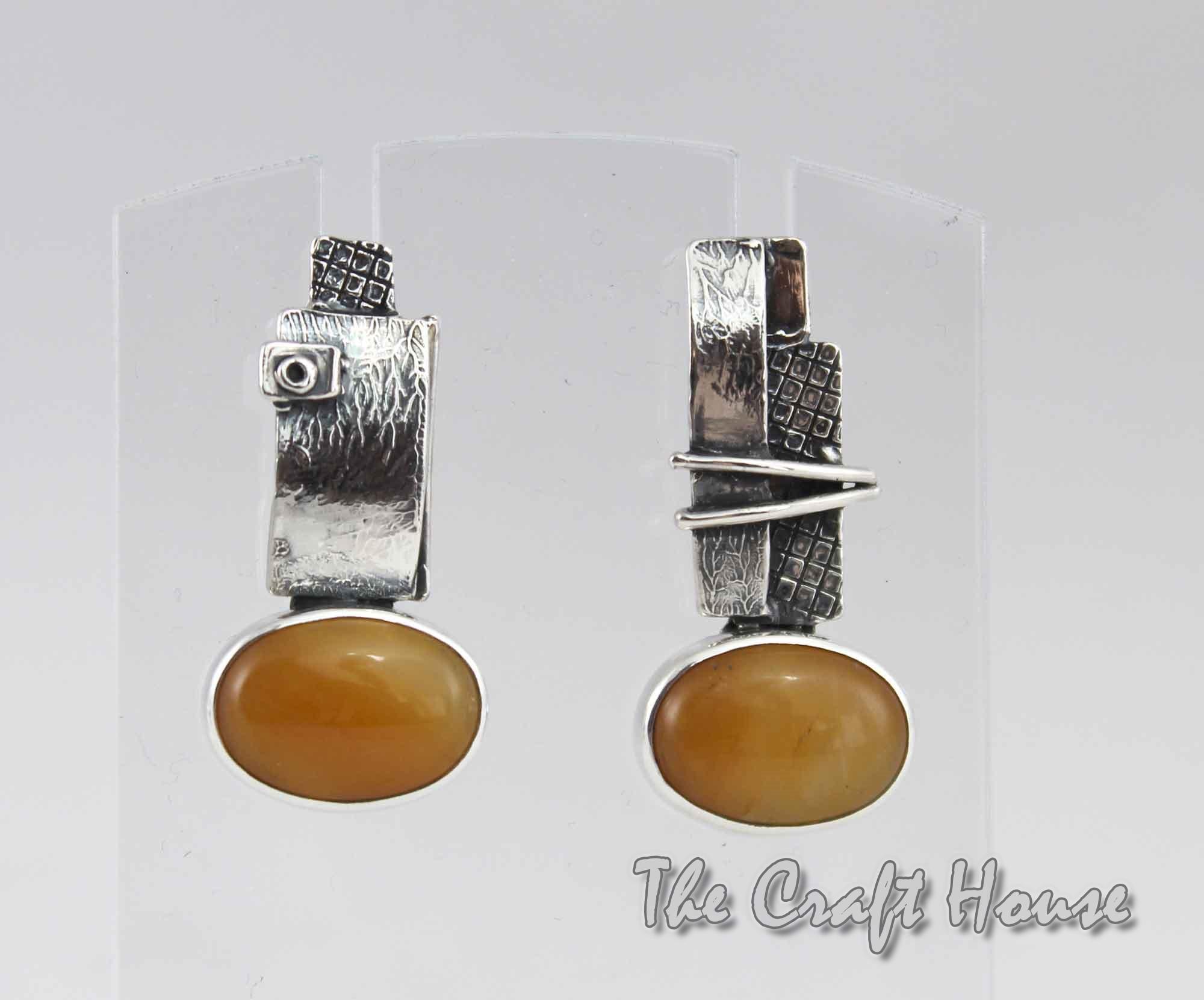 Сребърни обеци със Слънчев камък