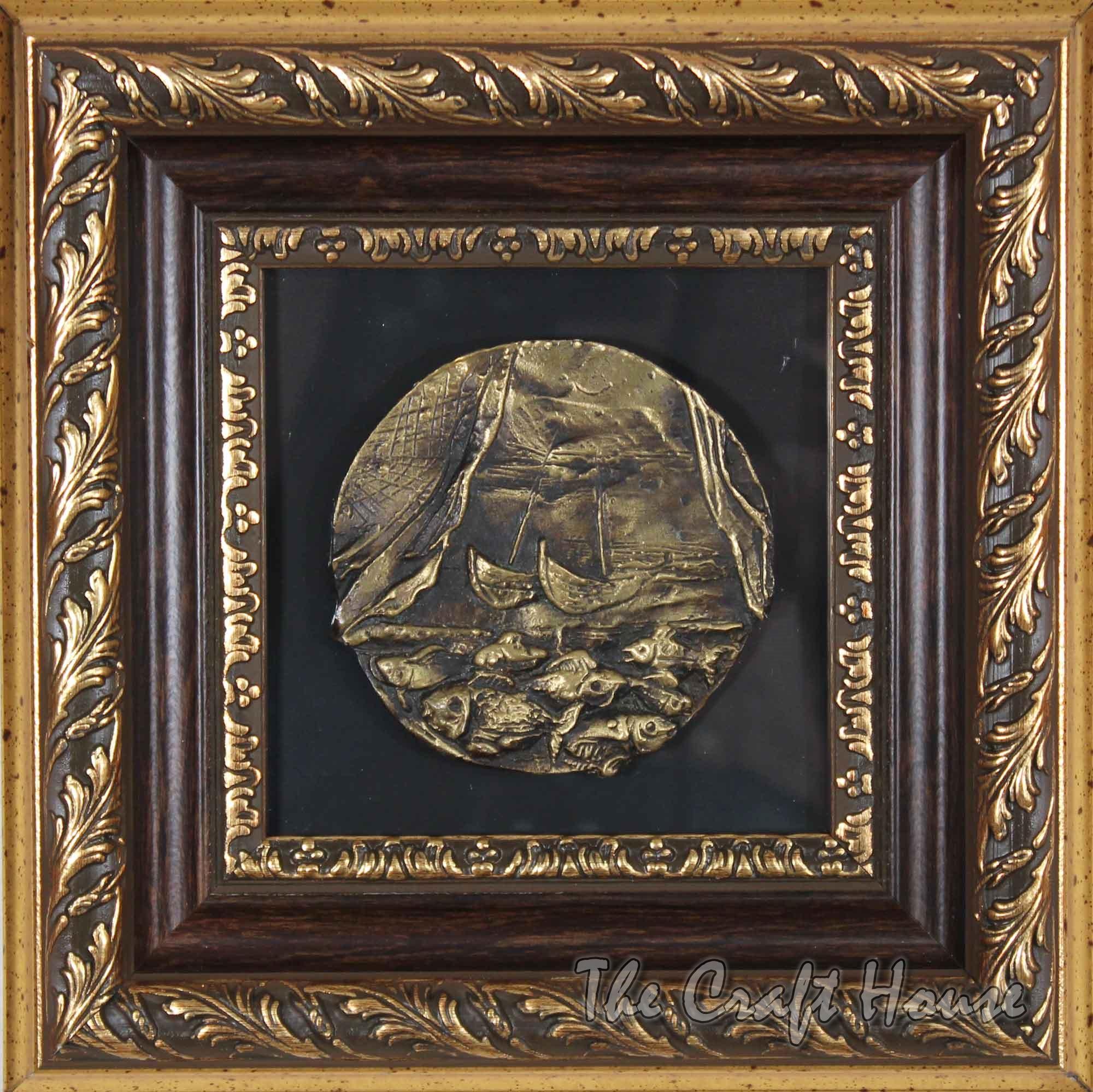 Bronze plaque 'Fishing'