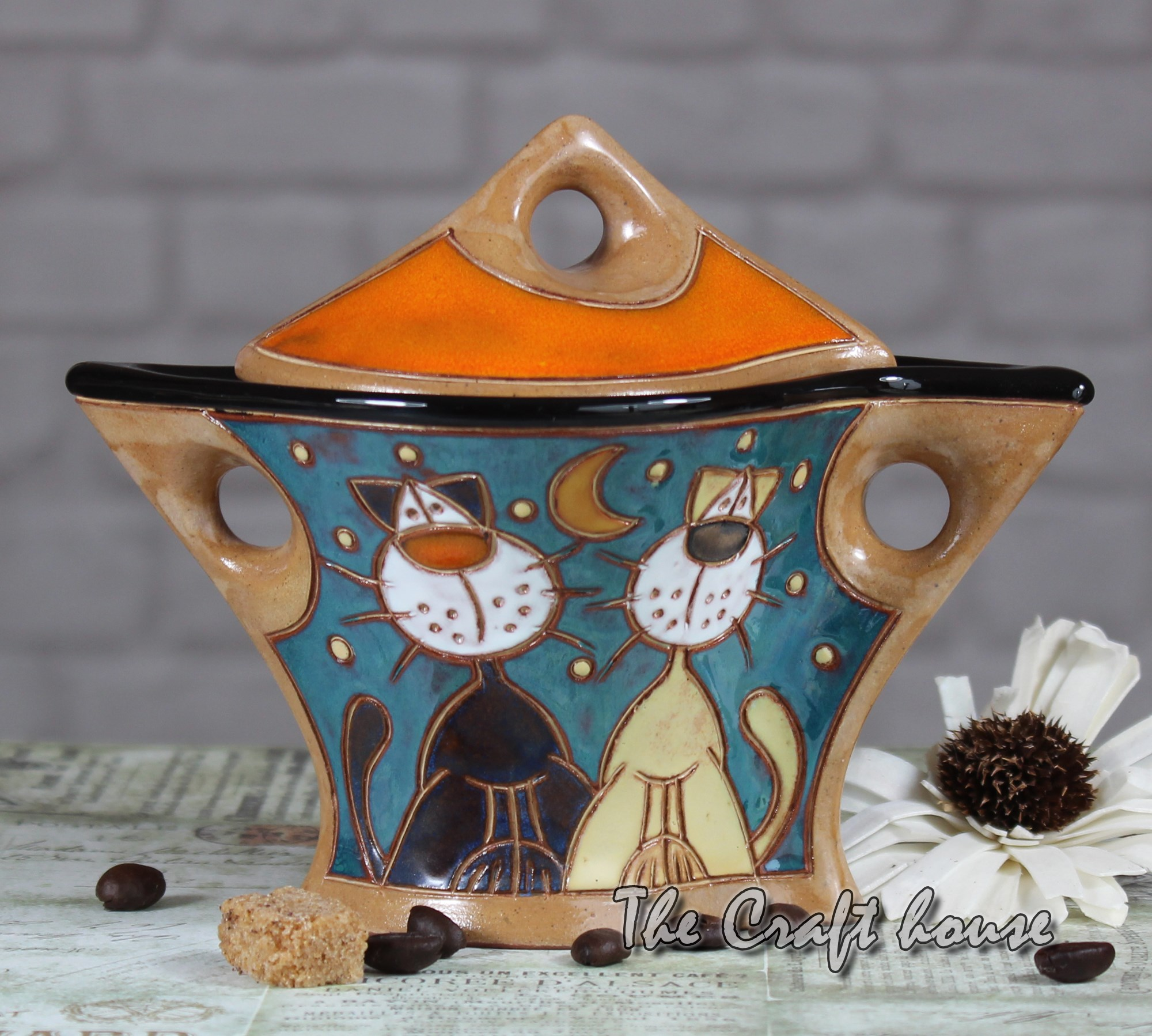 Ceramic sugar bowl 'Cats'