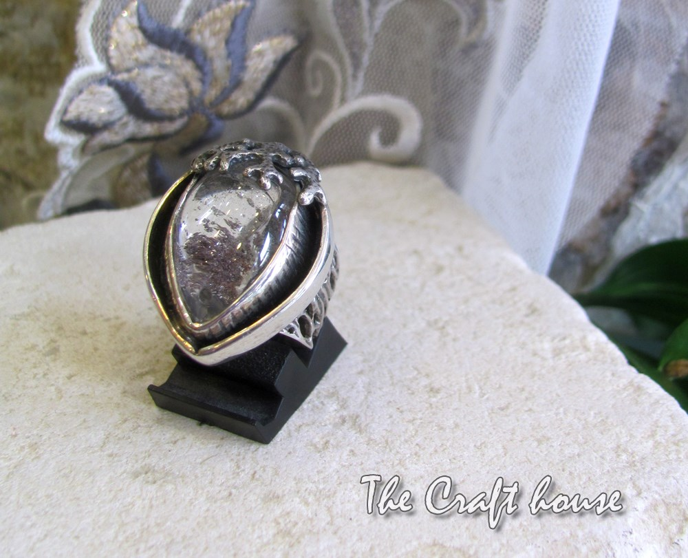 Silver ring with Rutile quartz