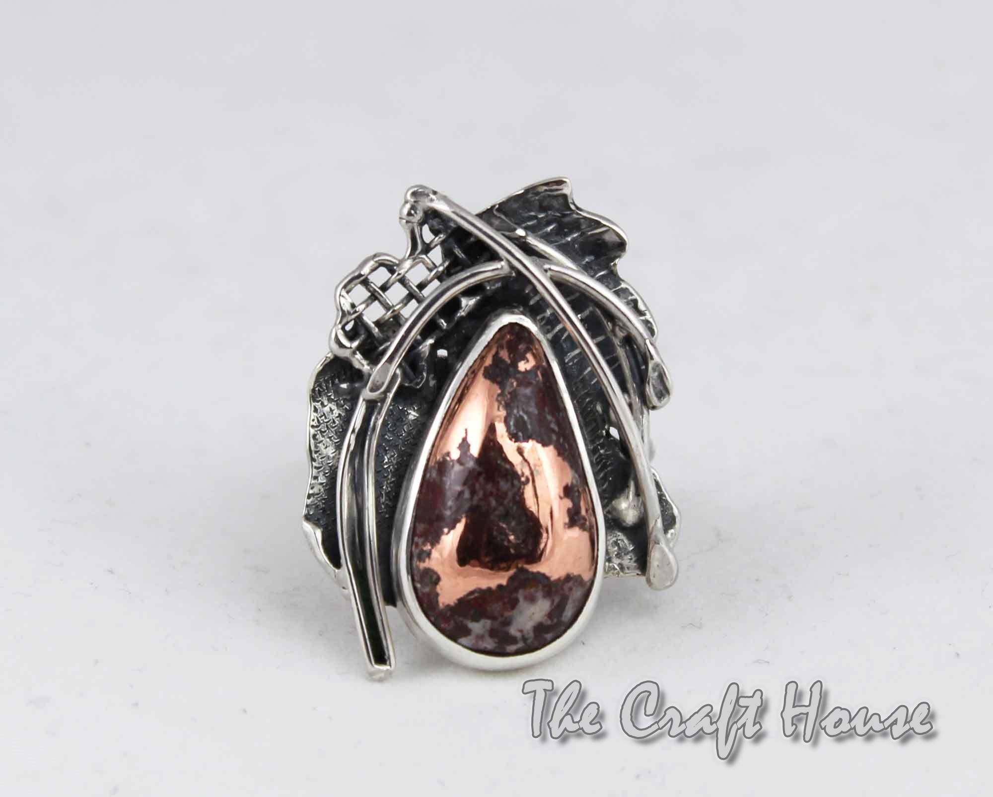Сребърен пръстен с Медна руда