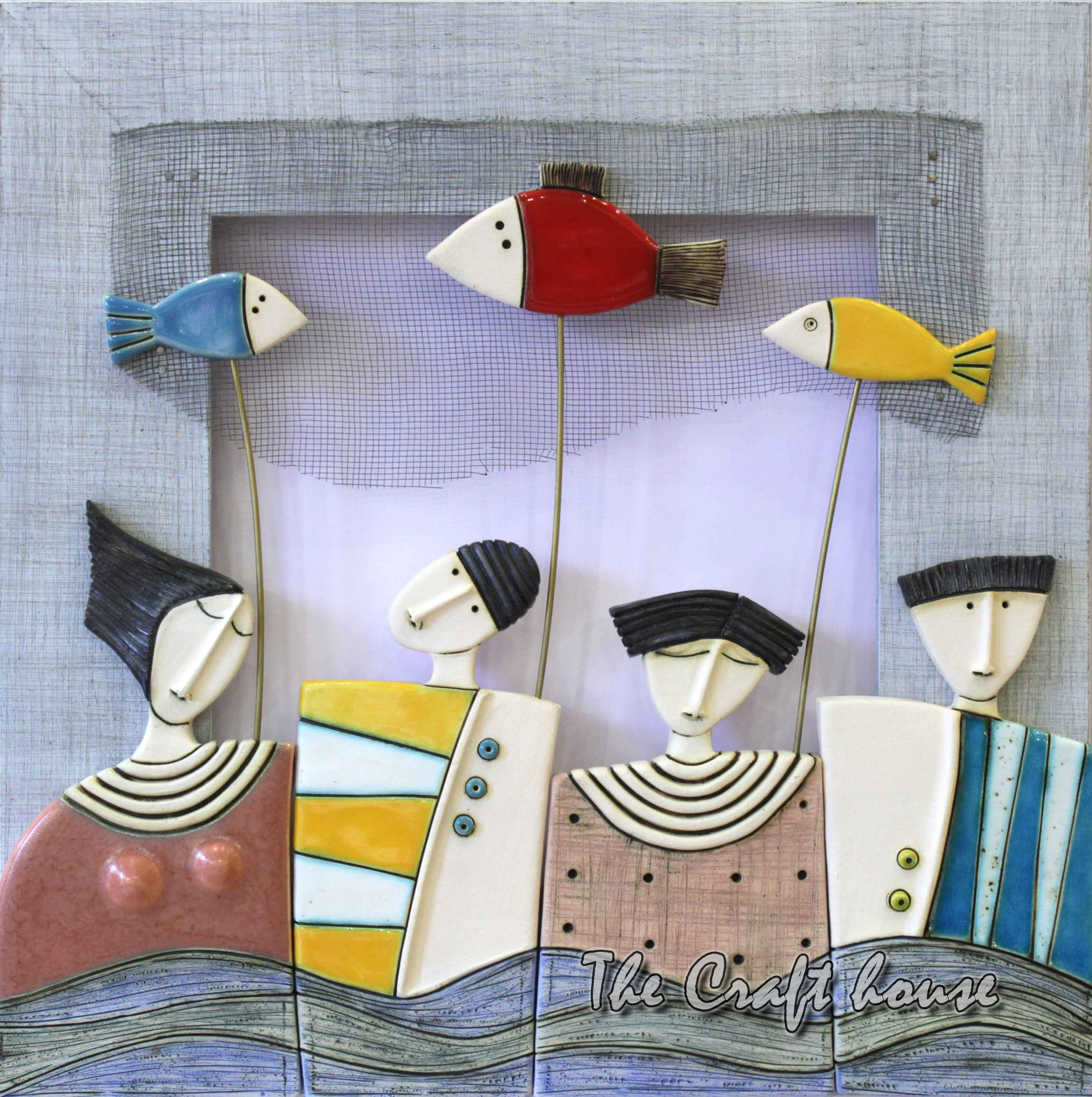 Hemstitch wall panel 'People with fishes'