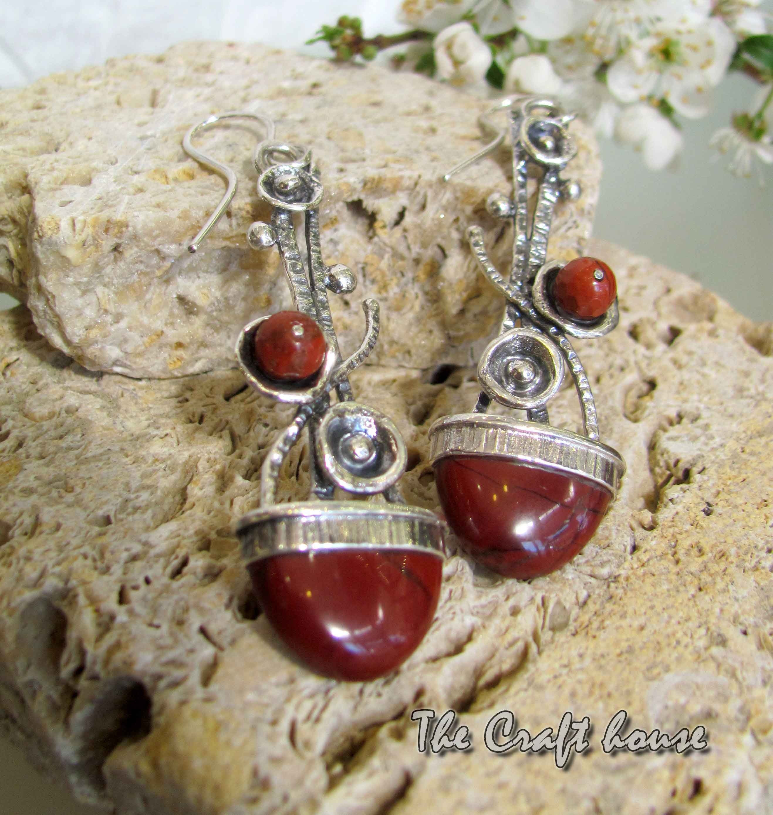 Silver earrings with Jasper
