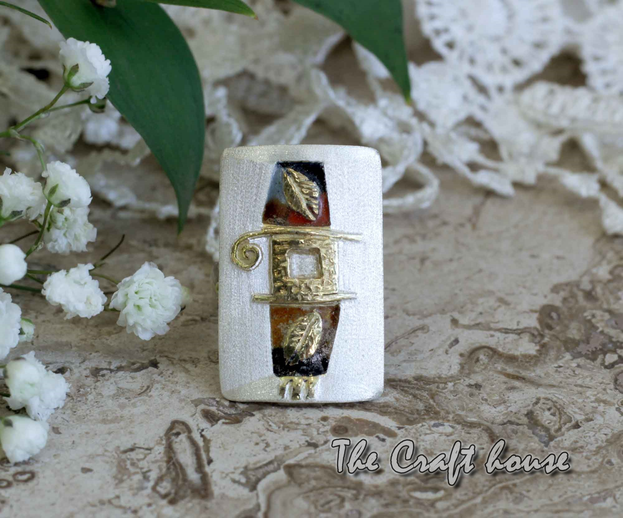 Silver ring with enamel and gold-plating