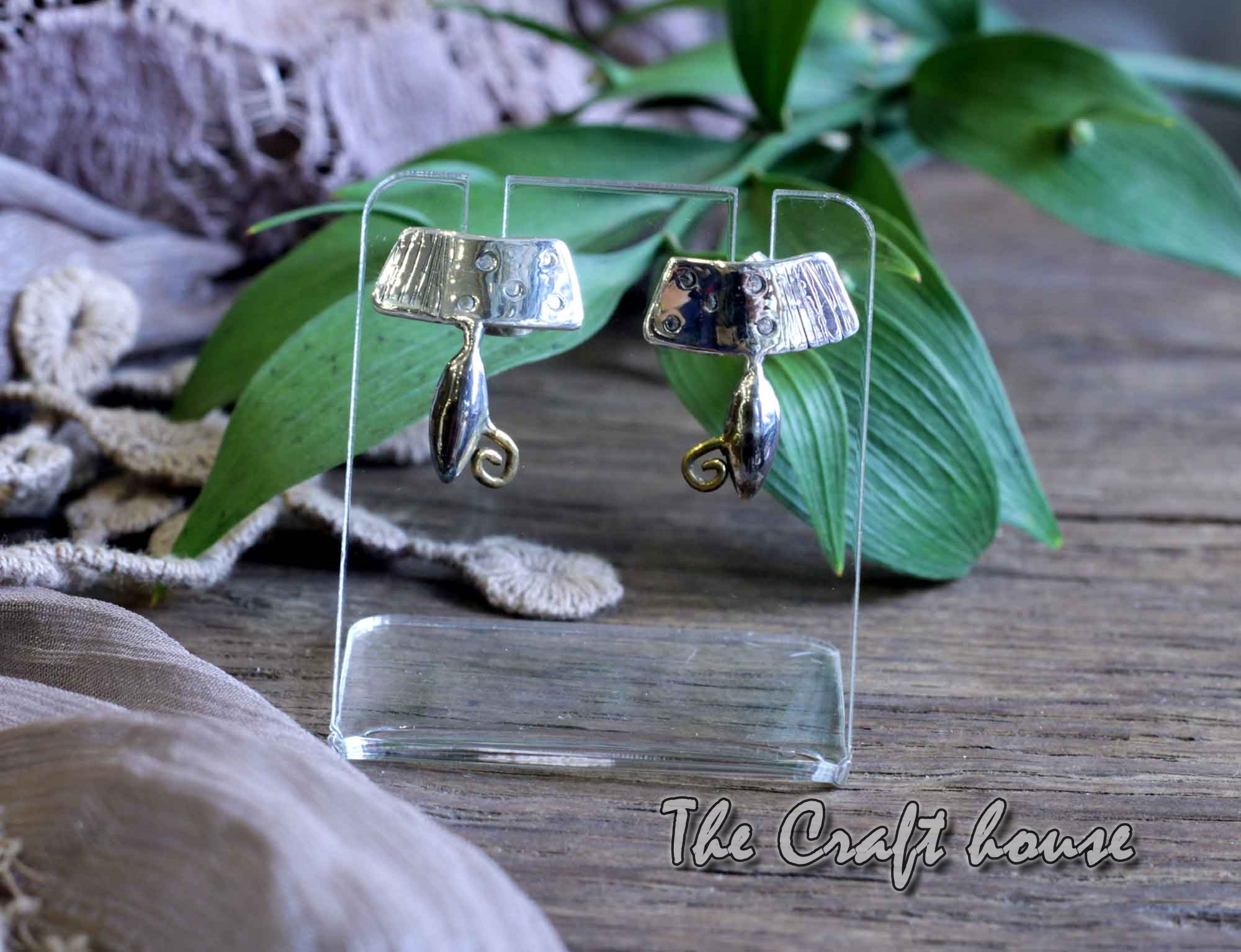 Silver earrings with gold-plating