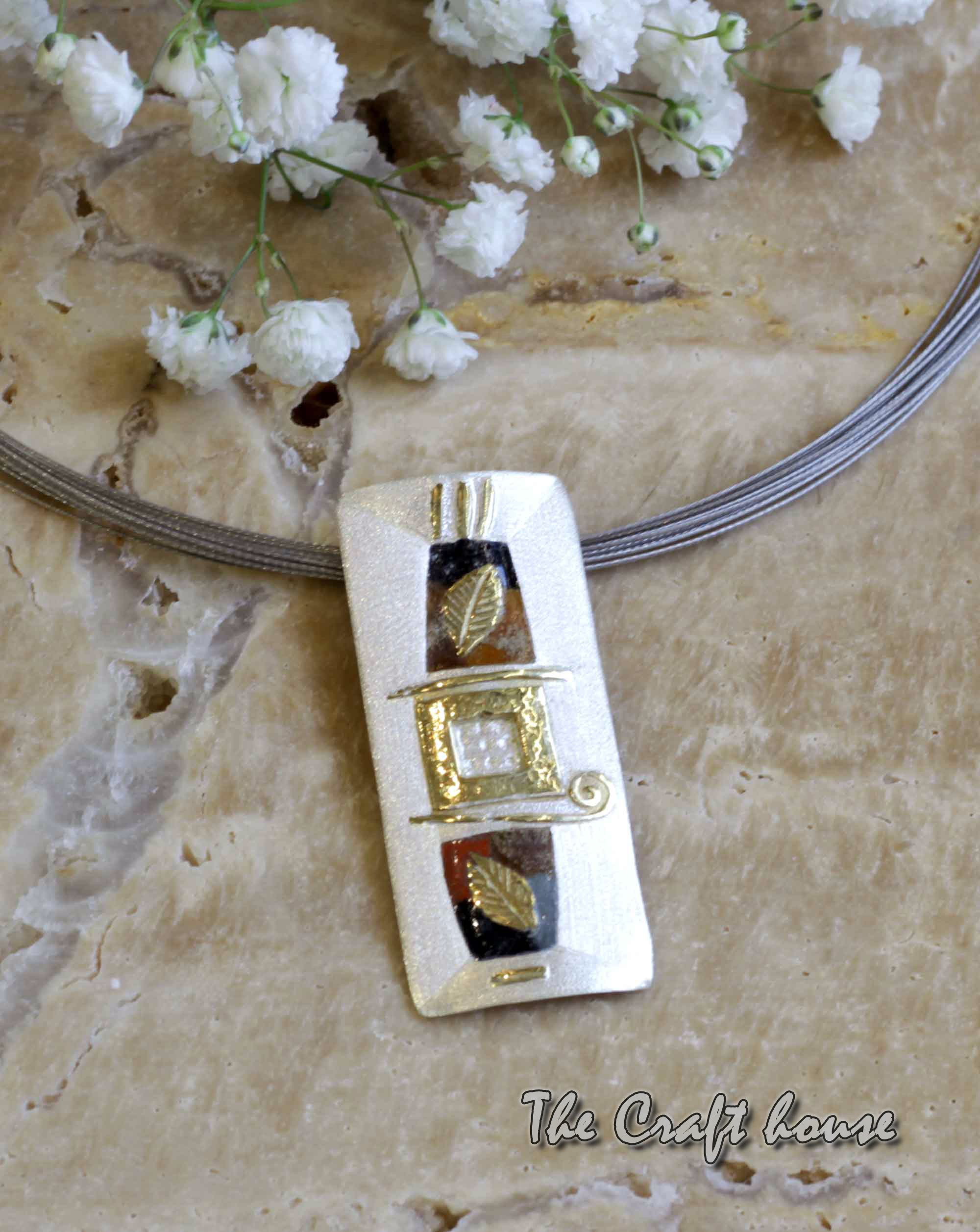 Silver necklace with enamel and gold-plating