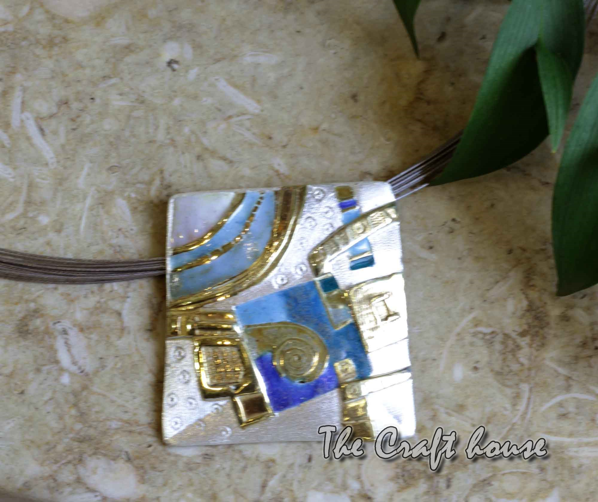 Silver necklace with enamel & gold-plating