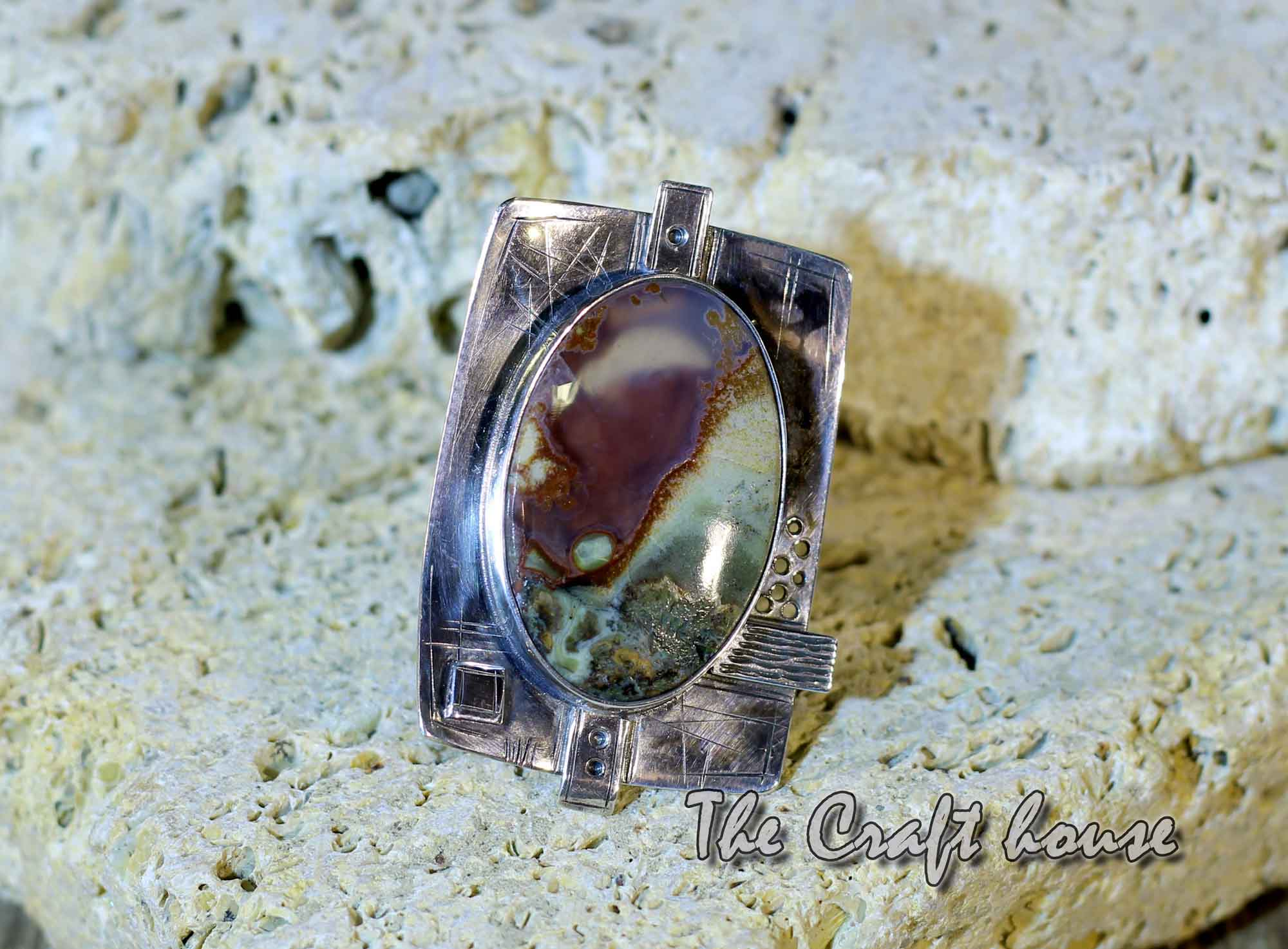 Silver ring with Landscape agate