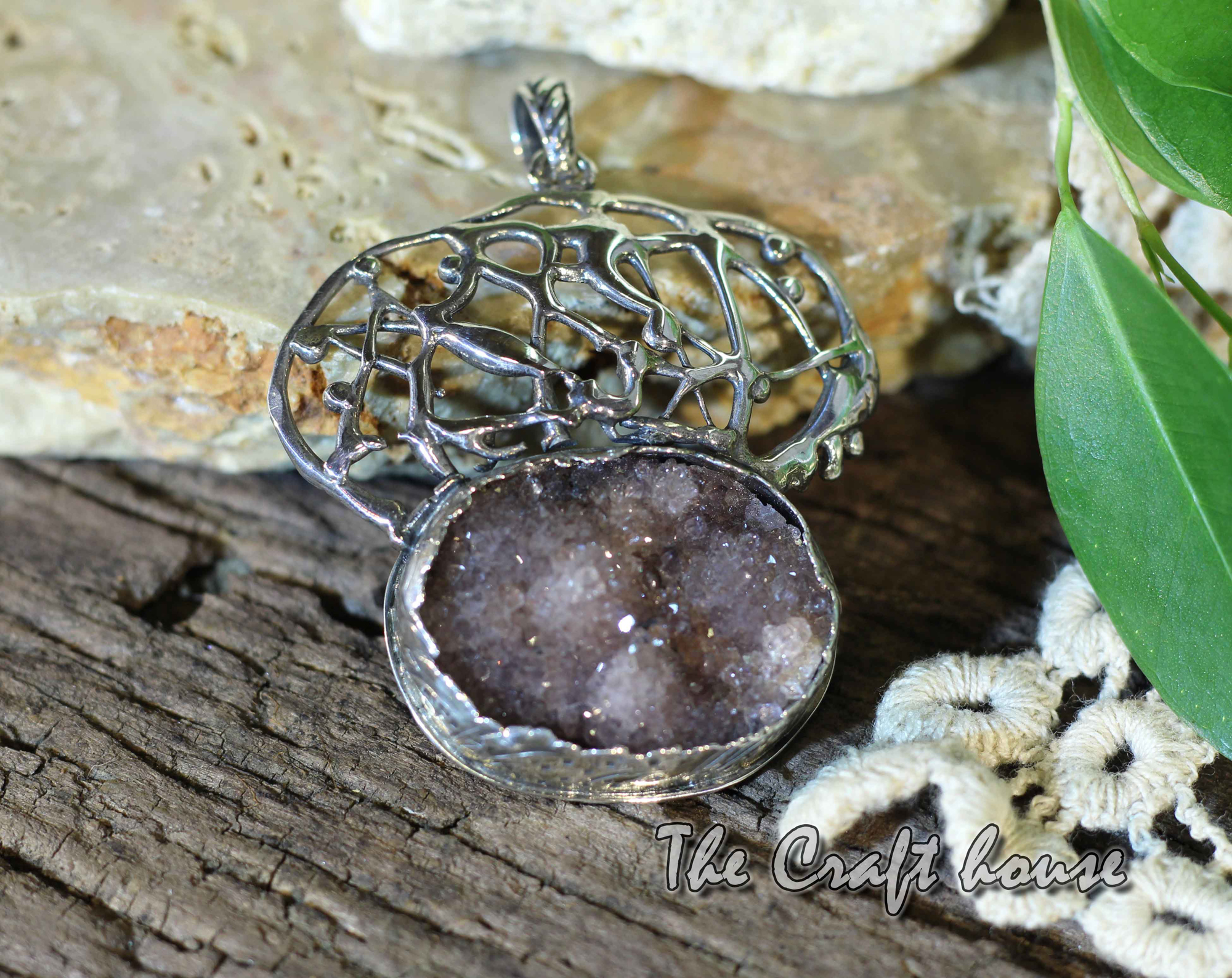 Silver pendant with Amethyst Druse