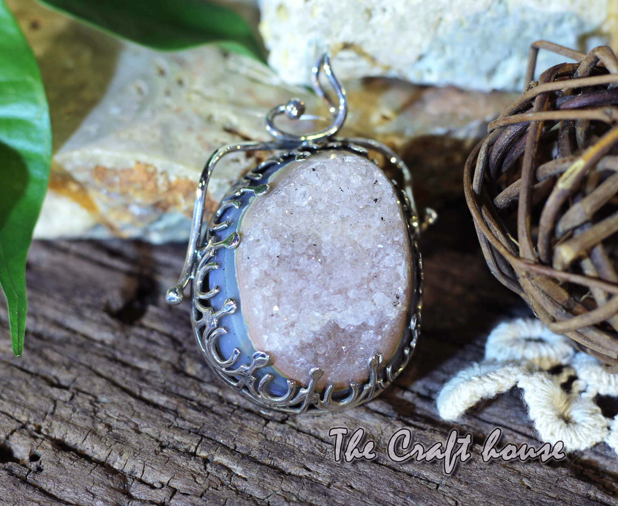 Silver pendant with Chalcedony druse