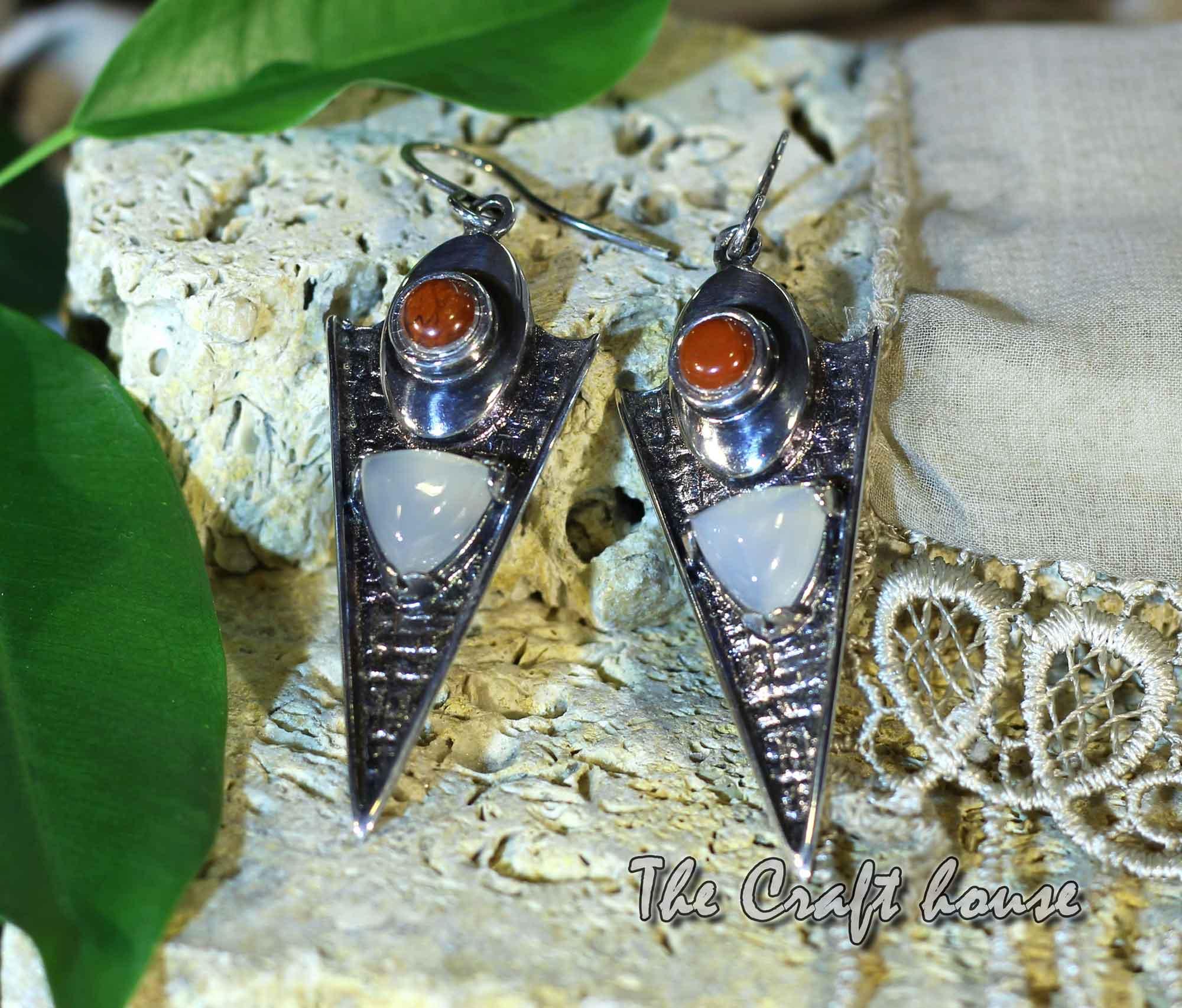 Silver earrings with Chalcedony & Jasper
