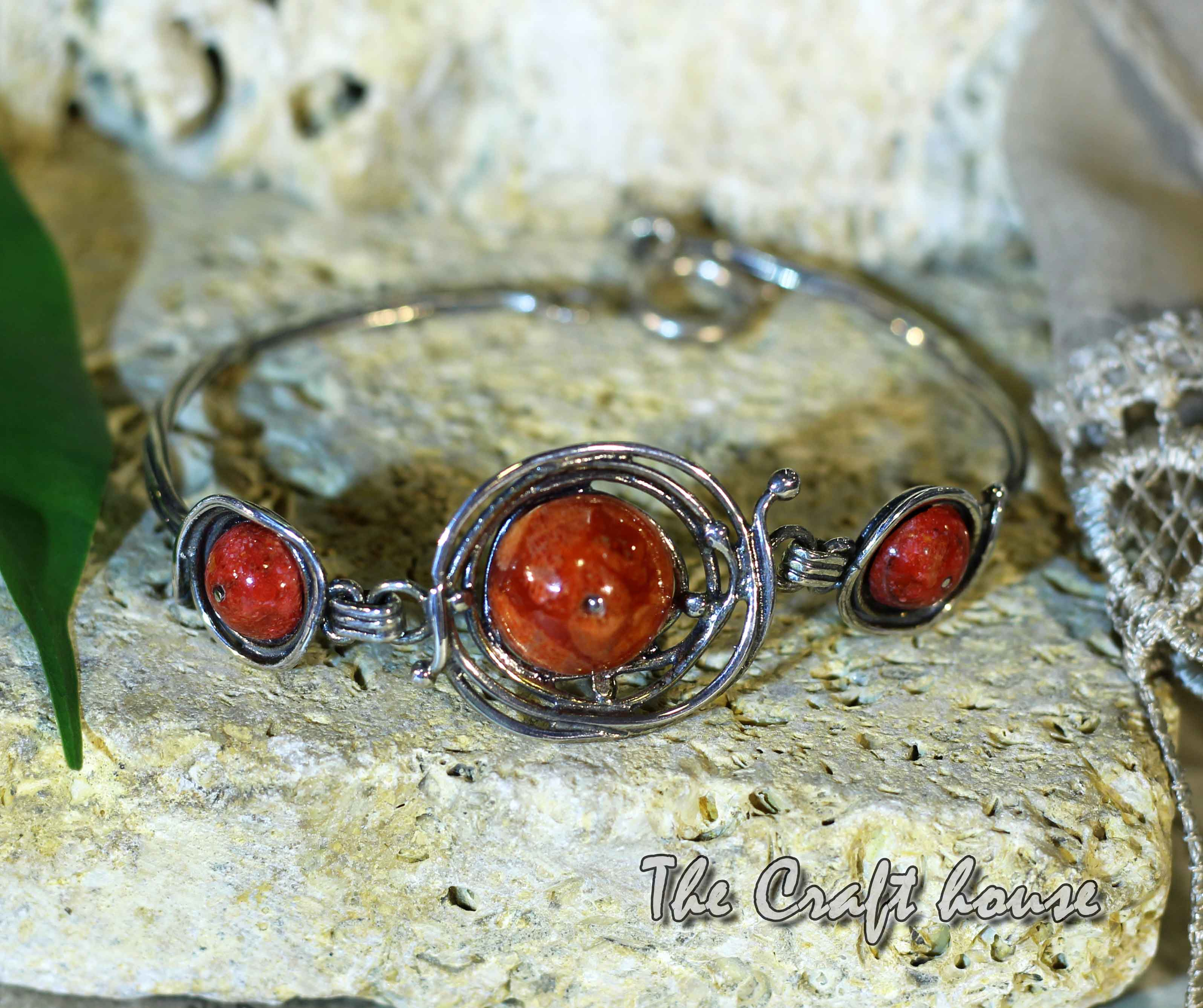 Silver bracelet with Coral