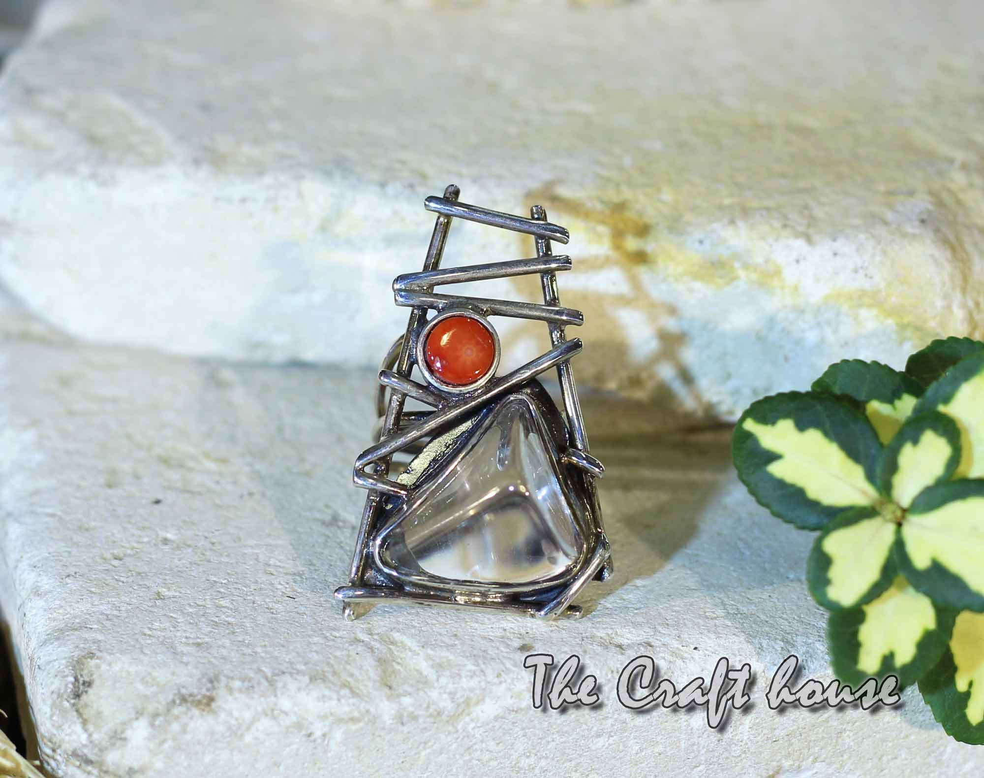 Silver ring with Rock crystal & Coral