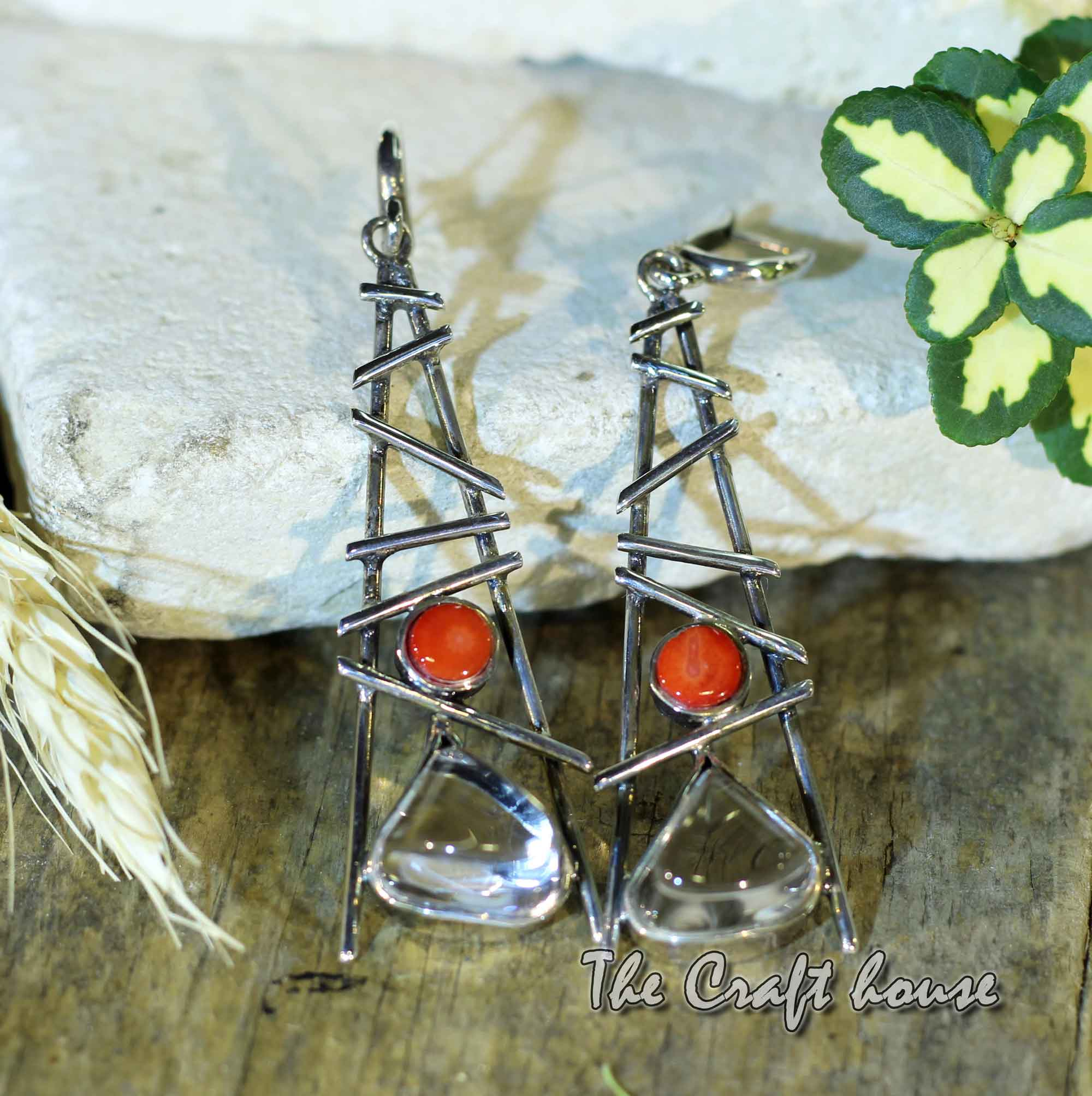 Silver earrings with Rock crystal & Coral