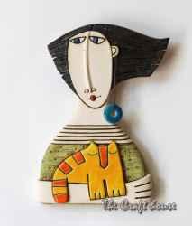 Декоративно пано 'Жена с котка'