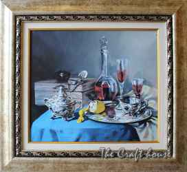 Still life with silver plate