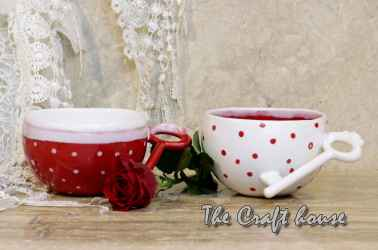 Ceramic set 'Red & white'