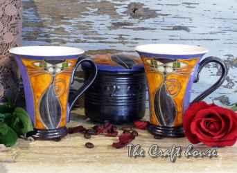 Ceramic set with cat