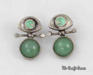 Silver earrings with Aventurine and enamel