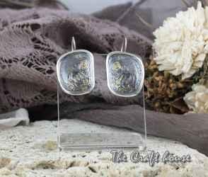 Сребърни обеци с гравюра и позлата