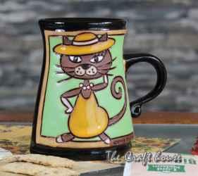 Чаша 'Коте на зелен фон'