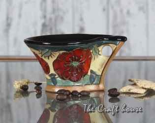 Керамична чаша за кафе с макове