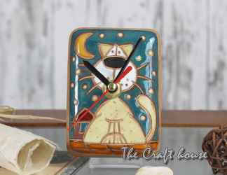 Ceramic clock 'Cats'