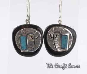Silver earrings with horn and Turquoise