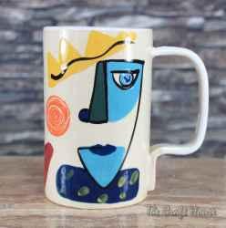 Керамична чаша- халба ' Лица '