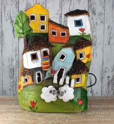 Ceramic lamp 'Houses'