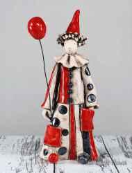 Ceramic sculpture Clown with balloon