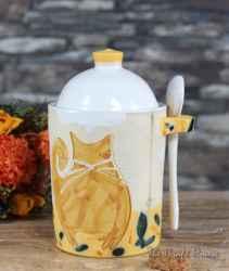 Керамична захарница с лъжичка 'Котки'