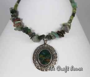 Silver necklace with Jasper
