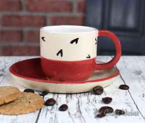 Керамична чаша с чинийка