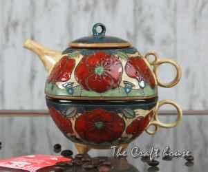 Керамичен комплект за чай 'Макове'