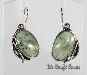 Silver earrings with Prehnite