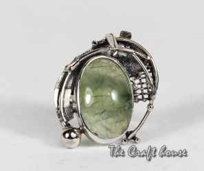 Silver ring with Prehnite