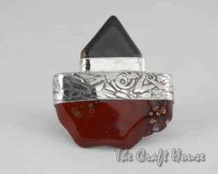Сребърен пръстен с Яспис и Ахат