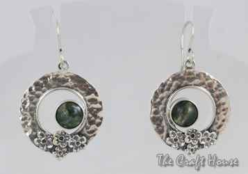 Silver earrings with Moss Agate