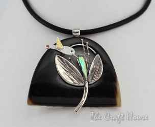 Silver necklace with horn