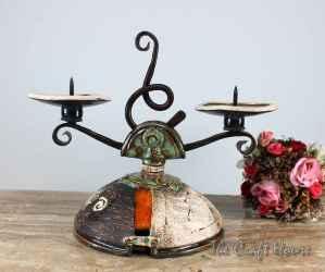 Керамичен свещник с ковано желязо