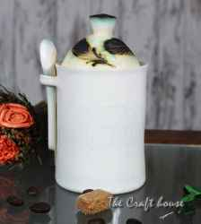 Ceramic sugar bowl 'Feathers'