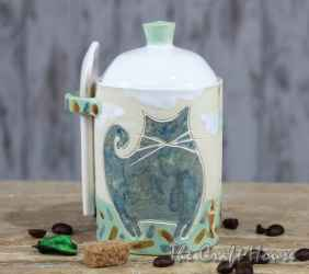 Ceramic sugar bowl 'Cats'