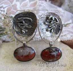 Сребърни обеци с Ахат